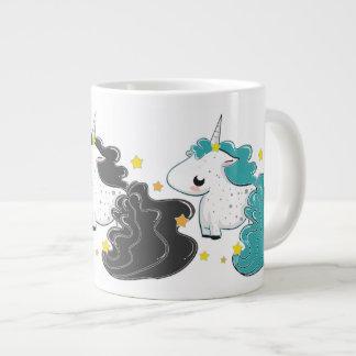 Three colors of cartoon unicorns with stars Jumbo Giant Coffee Mug