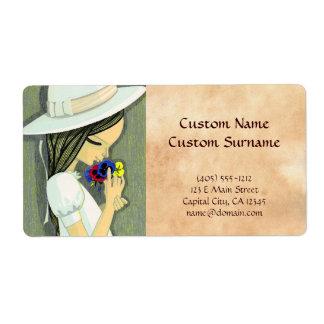 Three Coloured Pansies Ikeda Shuzo cute girl art Label