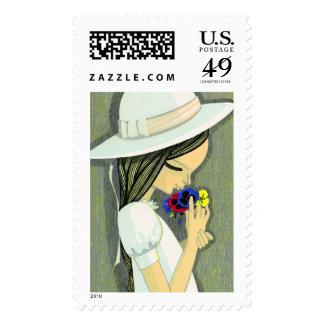 Three Coloured Pansies Ikeda Shuzo cute girl art Postage Stamp