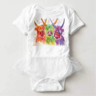 Three Colourful Highland Cows Baby Bodysuit