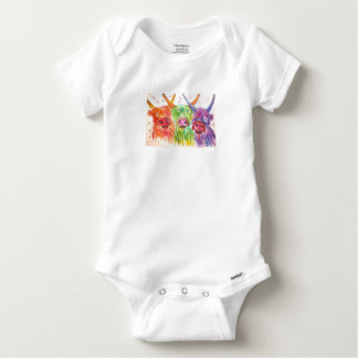 Three colourful Highland Cows Baby Onesie