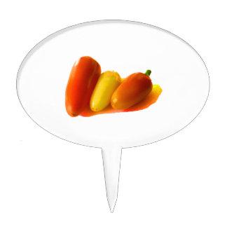 Three Cone White Habanero Peppers Orange Yellow Cake Topper