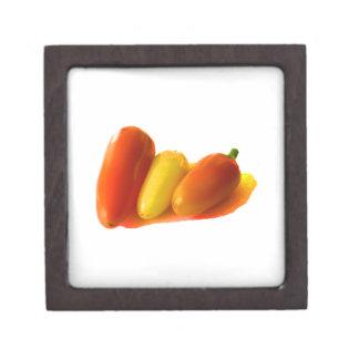 Three Cone White Habanero Peppers Orange Yellow Jewelry Box