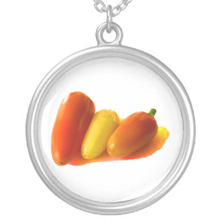 Three Cone White Habanero Peppers Orange Yellow Silver Plated Necklace