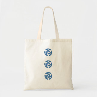 Three connected three way hearts (blue color) tote bag
