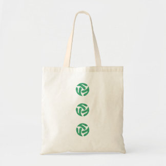 Three connected three way hearts (green color) tote bag