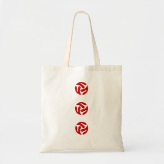 Three connected three way hearts (red) tote bag