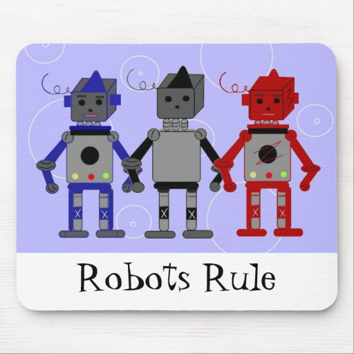 Three Cool Robots Mouse Pad