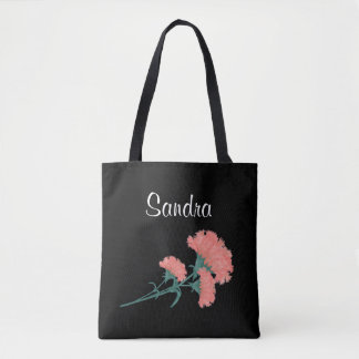 Three Coral Carnations Tote Bag