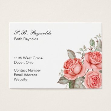 Professional Business Three Coral Colored Roses Business Card