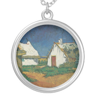 Three Cottages in Saintes-Maries-de-la-Mer Silver Plated Necklace