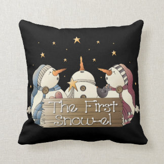 Three Country snowman throw pillow Christmas