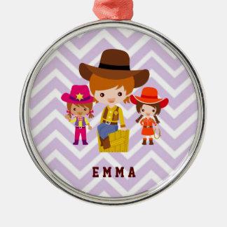 Three Cowgirls Set on Chevron Background Metal Ornament