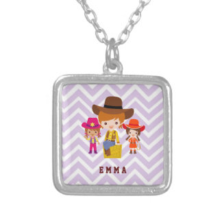 Three Cowgirls Set on Chevron Background Square Pendant Necklace
