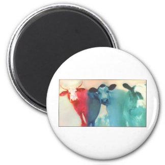 Three Cows 2 Inch Round Magnet