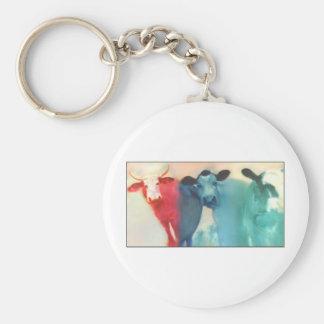 Three Cows Basic Round Button Keychain