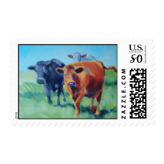 Three cows painting postage