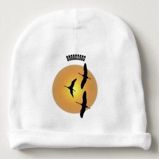 Three Cranes Flying Towards Rising Sun Baby Beanie
