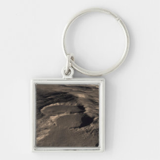 Three craters in the eastern Hellas region of M Silver-Colored Square Keychain