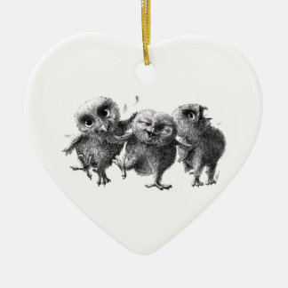 Three Crazy but Cunning Owls Ceramic Ornament