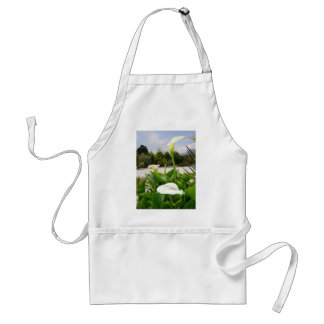 Three Cream Calla Lilies With Garden Background Adult Apron