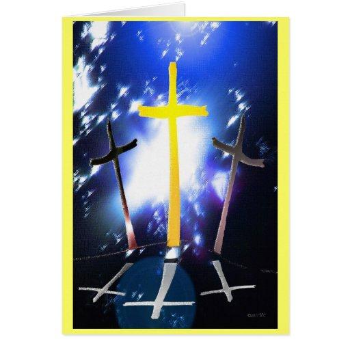Three Crosses At Calvary Card