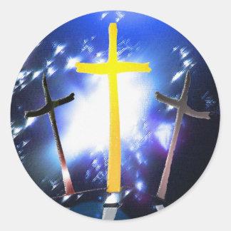 Three Crosses At Calvary Classic Round Sticker