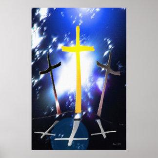 Three Crosses At Calvary Poster
