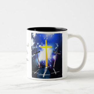 Three Crosses At Calvary Two-Tone Coffee Mug
