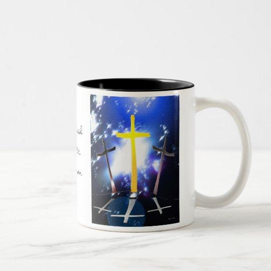 Three Crosses At Calvary Two-Tone Coffee Mug