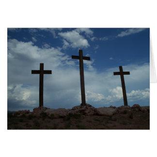 Three Crosses Calvary Jesus Christ Greeting Card