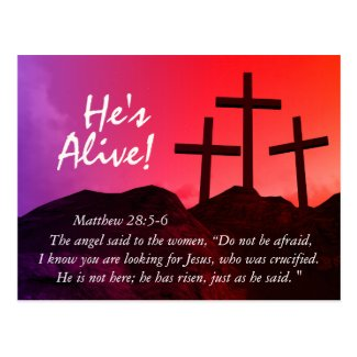 Three Crosses 'He's Alive' Easter Postcard