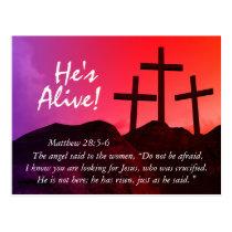 Three Crosses 'He's Alive' Easter Postcard