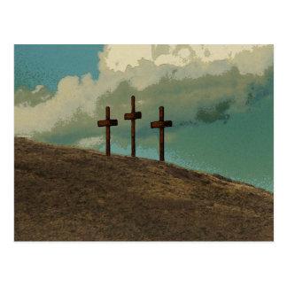 Three Crosses on a hill Postcard