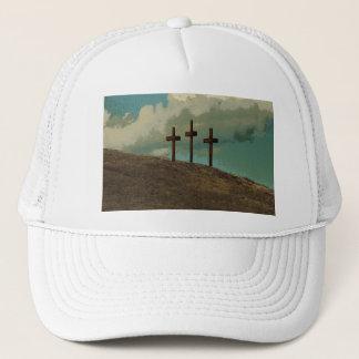Three Crosses on a hill Trucker Hat