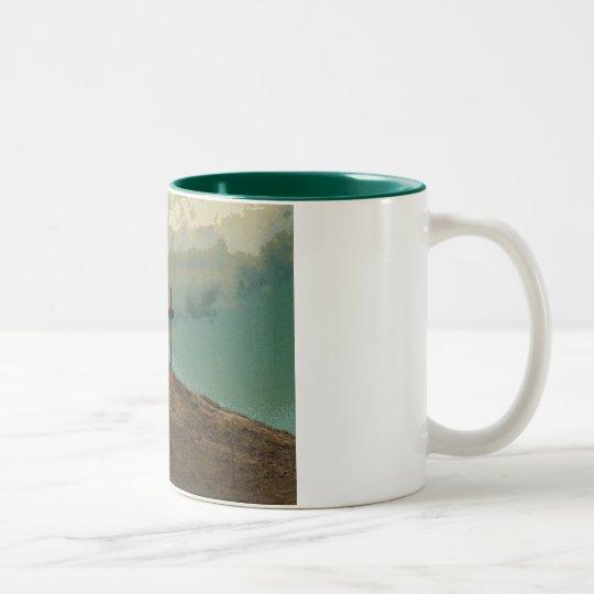 Three Crosses on a hill Two-Tone Coffee Mug