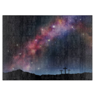 Three Crosses on a Hillside under the Milky Way Cutting Board