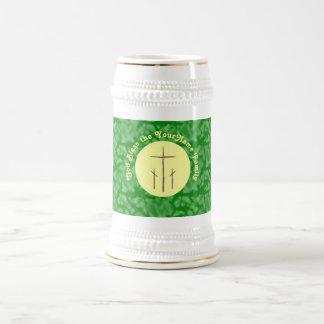 Three Crosses on Calvary Yellow Green Beer Stein