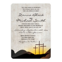 Three Crosses Religious Wedding Invitation