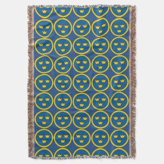 Three Crowns Swedish Crest Scandinavian Emblem Throw Blanket