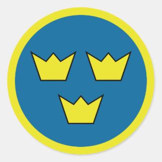 Three Crowns Swedish Emblem Classic Round Sticker