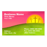 Three Crucifixes on Hill Against Beautiful Sunset Business Card Template