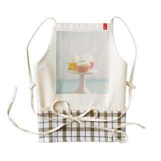 Three cupcakes on cake stand zazzle HEART apron