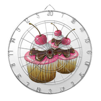 Three Cupcakes With Cherry On Top: Pink Icing Dartboard