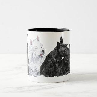 Three Curious Scotties and a Westie Two-Tone Coffee Mug