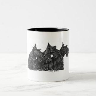 Three Curious Scottish Terriers Two-Tone Coffee Mug