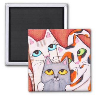 Three Cute and Cuddly Cats Fridge Magnet