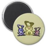 Three Cute Bunnies 2 Inch Round Magnet