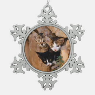 Three cute curious kittens snowflake pewter christmas ornament