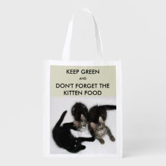 Three Cute Kittens Reusable Grocery Bag